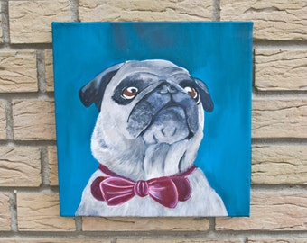 Blue Pug - Portrait/Acrylic on canvas