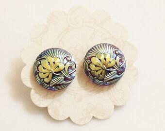 Flower Stud Earrings Made of Czech Glass