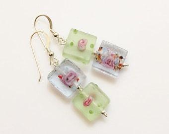 Sqaure Glass Earrings, Green and Purple Earrings, Lampwork Bead Earrings