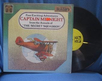 """Vintage, Captain Midnight """"Four Exciting Adventures, from the Annals of The Secret Squadron"""" Vinyl LP Record Album, Original Radio Broadcast"""