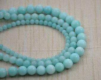 """Strand Round Aquamarine Jade Beads --- 4mm 6mm 8mm --- Gemstone Beads ---15~15.5"""" in Length"""