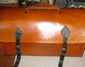 Civil War Victorian Leather  Travel Trunk Case