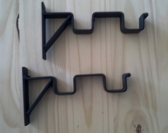 1-Pair Square 1'' Rod Double Curtain Rod Hand Forged Bracket 3'' & 6'' Projection sheers and drapes brackets 1 pair