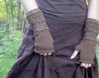 Fingerless Gloves, Wrist Warmers, Hand Knitted Gloves, Knit Fingerless Gloves, Brown Gloves, Autumn Colors, Mori Girl, Fairy Accessories