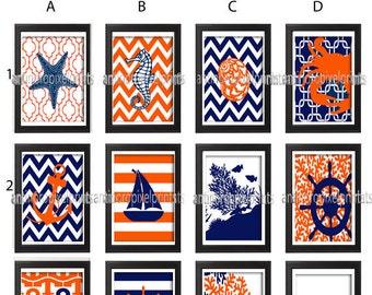 Navy Orange Digital Illustration Bath / Beach House Prints Wall Art Choose Any (3) - 4x6 Prints -  (UNFRAMED)