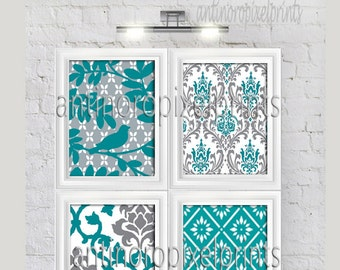 Bird Teal Grey White Damask Vintage Modern Wall Art Print  - Set of (4) 8x10 Custom Colors Sizes Available Unframed