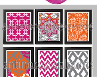 Wall Art Prints Orange Pink Grey Vintage / Modern inspired  Art Prints Collection  -Set of (6) Prints -   (UNFRAMED)