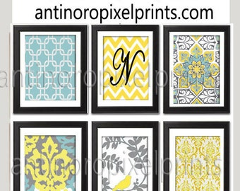 Yellow turquoise Grey Vintage / Modern inspired  Art Prints Collection  -Set of (6) - Wall Art Prints -   (UNFRAMED)