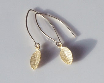 Gold Dangle Leaf Earrings, Silver Leaf Earrings, Delicate Dainty Dangle Earrings, Fall Winter Weddings, Gold Fill, Sterling Silver