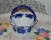 Beautiful Blue and White Glass Basket Bowl with Handle,Glass bowl, small bowl,S