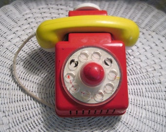 Ambi Toy Clown  Phone Red Dial From Toys From Holland ,Toy Phone,Vintage Phone, Vintage Toys, Red Toy Phone, :)S