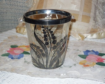 Pretty Silver and Clear Ice Bucket  Party , Barware /  :)S