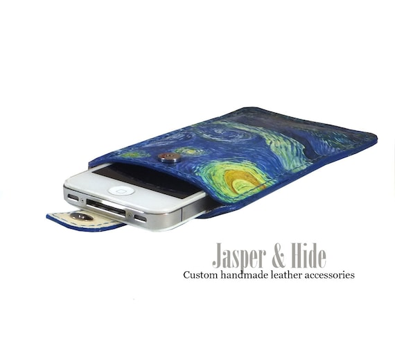 Printed leather Iphone, Ipod, Blackberry, Android, Samsung, Smartphone Case with Van Goghs Starry Night print