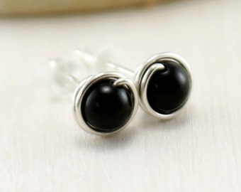 Onyx Earrings, Sterling Silver Black Onyx Stud Earrings Black Gemstone Post Studs Wire Wrapped