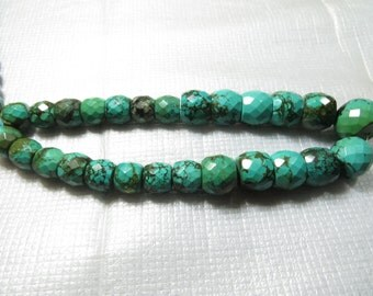Turquoise Wholesale Price 600 CRT  26 Piece Lot Old Looking  Smooth Faceted  Good Quality Size 11X13 mm To 15X21 mm  Approx