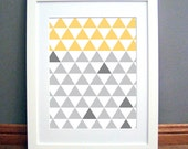 Triangle Grid Yellow Grey Large, Printable Wall Art, Geometric, Modern, Downloadable