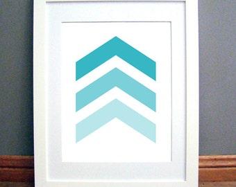 Aqua Blue Chevron Arrows, Chevron Wall Art, Chevron Wall Print, Aqua Blue, Turquoise Art, Aqua Wall Art