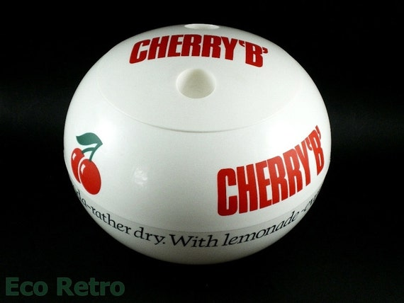 Cool Vintage 1960s Red and White Cherry B Ice Bucket