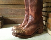 Vintage Frye Distressed  Brown Leather Biker Riding Boots // Size 8.5 - 9.5 US