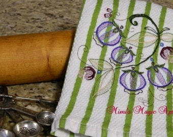 """Kitchen Dish Towel with embroidered """"Blueberries""""  / Cotton towel /Cooking Towel"""