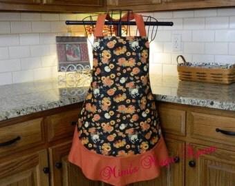 Womens Full Size Apron / Retro Apron / Handmade Apron / Full Designer Kitchen Apron / Pumpkin  with Flowers / Thanksgiving Apron