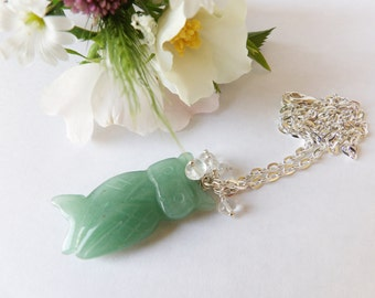 Lovely green aventurine Owl Necklace/Pendant gemstones