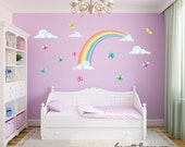 Girls Wall Decals,Rainbow and Butterflies Fabric Wall Decal Stickers, Rainbow Wall Art, Butterfly Stickers