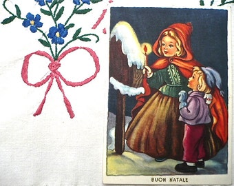 9 Vintage and Antique Christmas Postcards - Italian, Romanian, Danish and German Xmas Postcards, 1920s-50s