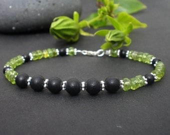 Black Basalat Lava Round Beads and Peridot Green Tire or Heishi Beads - 925 Sterling Silver Bracelet