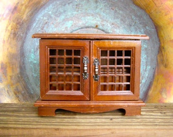 """Wood Jewelry Box, Vintage Music Box Plays """"Shall We Dance"""", Storage Box, Jewelry Keeper, Wooden Cabinet Multiple Compartments, Taiwan"""