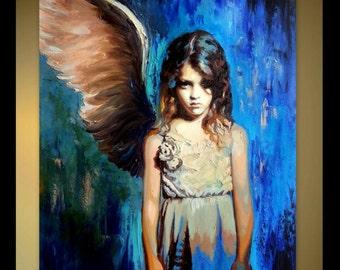 Custom Portrait Original Oil Painting - Fallen Angel - Contemporary Modern Art - One Wing Angel - Blue Huge Wall Art Palette Knife