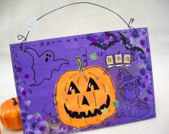 Halloween jack o lanterns art wooden signs original mixed media painting art whimsical wall décor quotes wall art