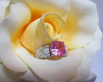 Lab Grown Pink Sapphire and White Zircon Ring