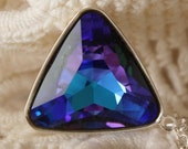 Heliotrope Necklace... Swarovski Crystal... Long Triangle Necklace...Heliotrope, Purple, Blue