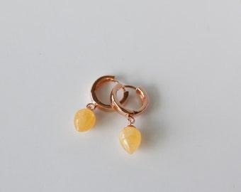 Last pair , Sale ! Aragonite( yellow), Adventurine ( orange)  gems earrings