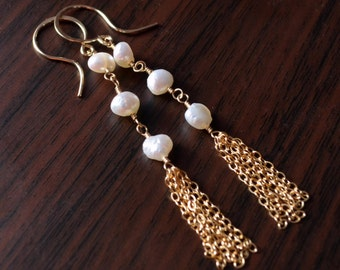 Long Pearl Earrings, Bridal Jewelry, Sterling Silver or Gold Tassels, Bohemian Style, Genuine White Freshwater - Boho - Free Shipping