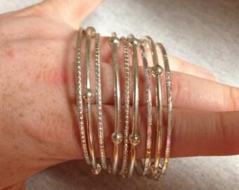 Vintage Silvertone Bracelet Set - Set of 9