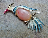 Vintage Jelly Belly and Gold Plated Enameled Bird Brooch Pin