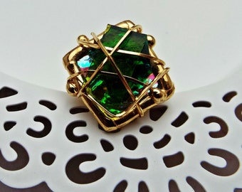 Ring Fused Glass Wire Wrapped Gold
