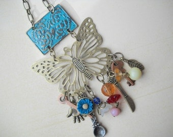 Charmed Butterfly Necklace, Statement Necklace, Boho, Hippie, Industrial, Mixed Metal