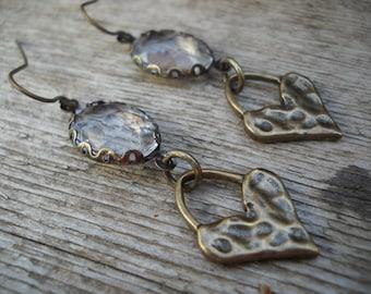 Hammered Love Earrings/Dangle Earrings/Victorian/Edwardian/Wedding/Hippie/Boho