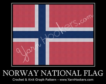 Norway National Flag - Afghan Crochet Graph Pattern Chart - Instant Download