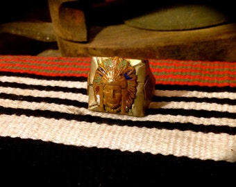 Vintage Silver Mexican Biker Ring Native American size 9 1/2