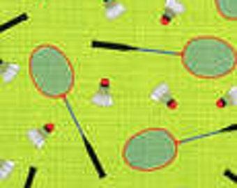 Timeless Treasures fabric Mini BADMINTON Racquets and Birdies on Green