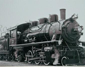 5 x 7 black and white vintage train, Oregon Coast Scenic Railroad