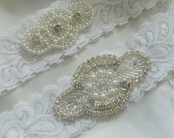 Wedding Garter Set,White Lace Wedding Garter,  Pearl And Crystal Garter