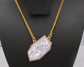 Costume gold and silver geode druzy necklace