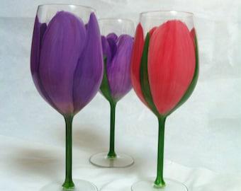 Handpainted tulip wine glass