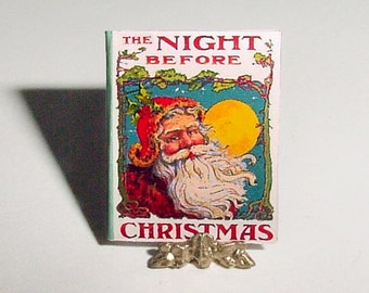 Miniature Book The NIGHT BEFORE CHRISTMAS - Clement Moore - One Inch Scale Santa Claus Story Book Verse, Dollhouse Nursery Accessory