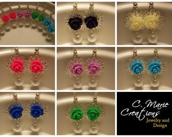 Rose Pearl Earrings- Choose Your Colors